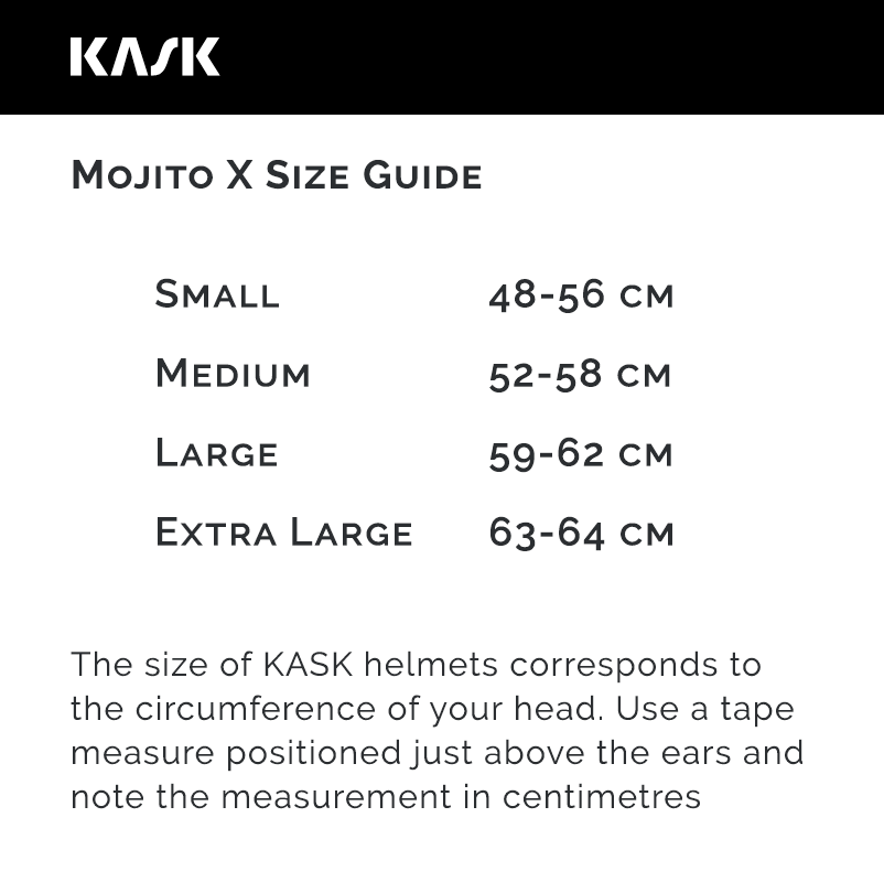 Kask Mojito X Size Guide