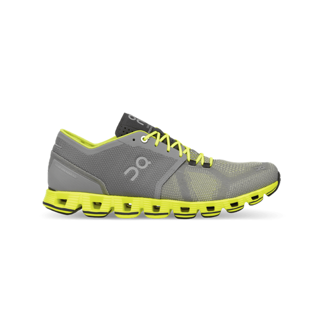On Running Cloud X Mens Trainers, Grey / Neon